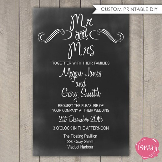 Mr and Mrs Chalkboard Invitation